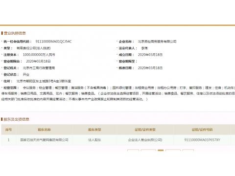 国家油气管网公司第一家子公司注册成立!