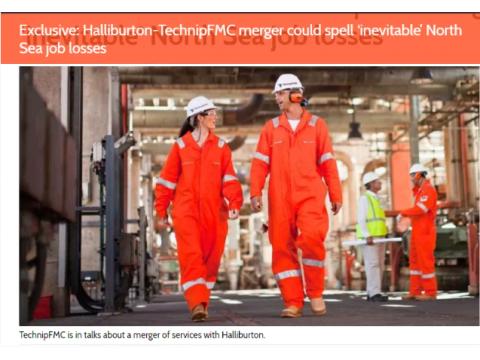 哈里伯顿或与Technip FMC合并